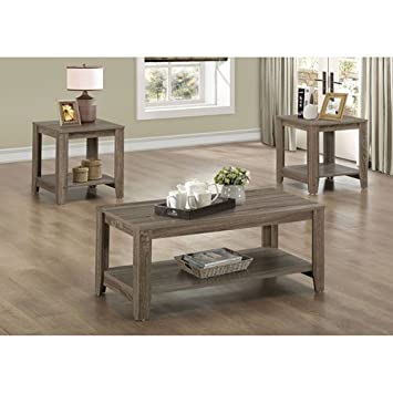 Amazoncom Monarch Tables in Dark Taupe Set of 3 Kitchen Dining
