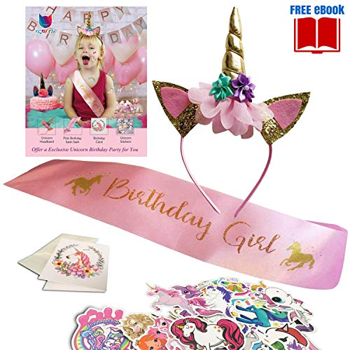 Favor Birthday Stickers Kids (Sparkling Unicorn Birthday Party Supplies Set - Unicorn Girl Gold Headband and Pink Satin Sash Included Ebook, Card, 50PCS Stickers - Happy Birthday Unicorn Party Favors & Decorations)