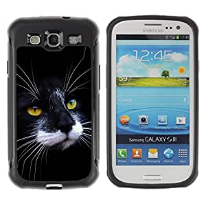 Fuerte Suave TPU GEL Caso Carcasa de Protección Funda para Samsung Galaxy S3 I9300 / Business Style Black White Cat House American Wirehair