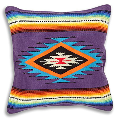 El Paso Designs Serape Throw Pillow Cover, 18 X 18, Hand Woven in Southwest and Native American Styles. ()