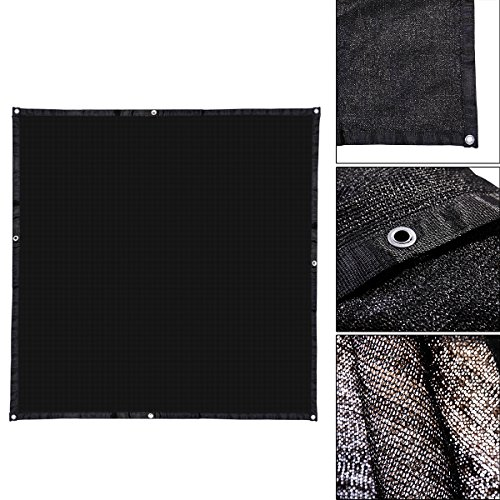 LAZYMOON 10' x 10' Black UV Rated Dog Kennel Shade Cover, Sunblock Shade Panel w/Grommets and Hems on 4 Sides by LAZYMOON