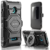 Evocel® Microsoft Lumia 435 Case - Dual Layer [New Generation] Rugged Holster Case with Kickstand and Belt Swivel Clip Nokia Lumia 435 - Retail Packaging, Black
