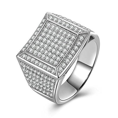 AmDxD Jewelry Silver Plated Men Promise Customizable Rings CZ Square Size 12.5