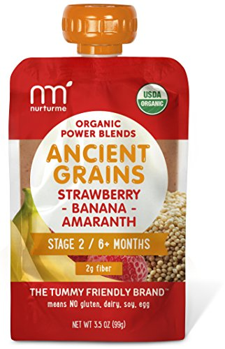 NurturMe Power Blends Organic Baby Food Pouch, Strawberry + Banana + Amaranth, 3.5 Ounce (Pack of 6)