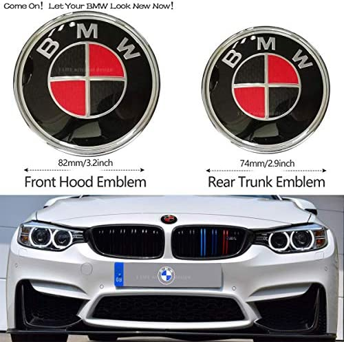 2pcs BMW Black and Red 82mm Hood Emblem/74mm Trunk Emblem Embl Replacement for BMW X3 X5 X6 3 4 5 6 7 8 series 325i 328i E46 E30 E36 E34 E38 E39 E60 E65 E90