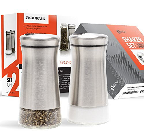 Elegant Salt And Pepper Shakers - Stainless Steel Set Of 2 - Gorgeous Salt And Pepper Dispenser With Adjustable Pour Holes - Perfect For Your Favorite Sea, Kosher And Himalayan Salts by KIBAGA (Image #4)