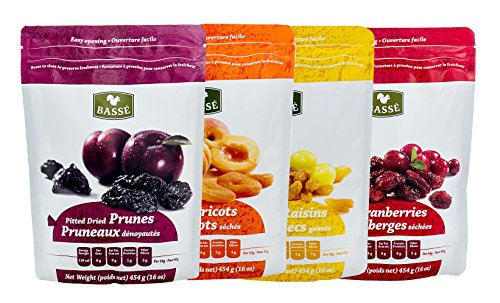 Dried Fruit Variety Pack with Prunes, Apricots, Golden Raisins and Craisins from Basse - Delicious Sweet Pitted Prunes, Dried Apricots, Jumbo Raisins, Dried Cranberries 4 Bags