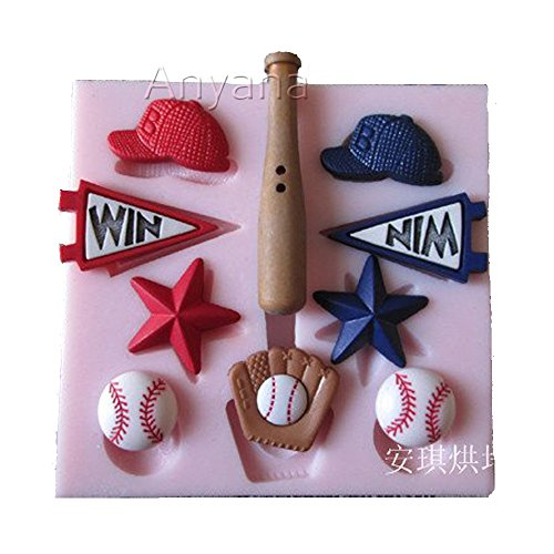 (Anyana Baseball Hat Baseball Bat Baseball Candy Silicone Mold for Sugarcraft, hockey Cake Decoration, Cupcake Topper, Fondant, Jewelry, Polymer Clay, Crafting Projects, Non stick easy to use)
