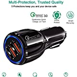 Car Charger Quick Charge 3.0 Rokai 40W 3A Car Adapter with Dual QC USB Ports for Samsung Galaxy Note 8/S9/S8/S8 Plus/S7, iPhone X/8/8 Plus, iPad Pro 2017, Google Pixel and More (Single)
