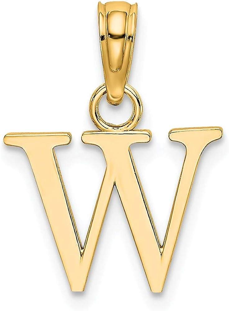 Solid 14K Gold W Block Initial Letter Alphabet Charm Pendant 9mm