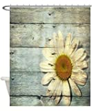 T&H Home Hotel Waterproof Washable Polyester Mildew Resistant Fabric Shower Curtain Liner with Metal Grommets Sunflower On Rustic Old Wood Board Shower Rings Included 60x72in