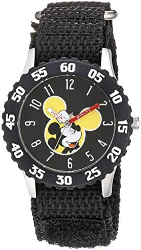 Disney Boy's 'Mickey Mouse' Quartz Stainless Steel and Nylon Casual Watch, Color:Black (Model: WDS000154)