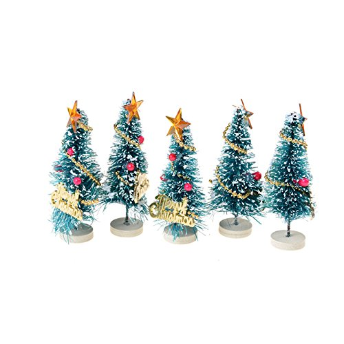 SNNplapla 5pcs Merry Christmas Mini Artificial Pine Trees with Wood Look Base Holder for Christmas Party and Baby Kids Dollhouse Decoration