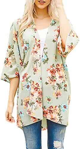 iSkylie Womens Blouse Chiffon Shawl Printed Kimono Cardigan Top Cover Up Blouse Open Front Beachwear Coaches' & Referees' Gear