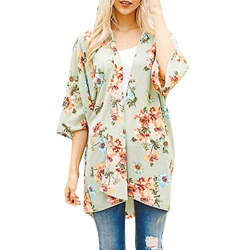 FORUU Cardigans For Womens, Ladies Floral Printed Loose Short Half Sleeve Chiffon Kimono Tops Blouses 2019 On Sale Office Elegant Summer Best Gift For Wife Business Work Casual Sexy