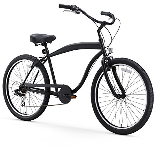 "sixthreezero Men's in The Barrel 7-Speed Beach Cruiser Bicycle, Matte Black w/Black Seat/Grips, 26"" Wheels/ 18"" Frame"