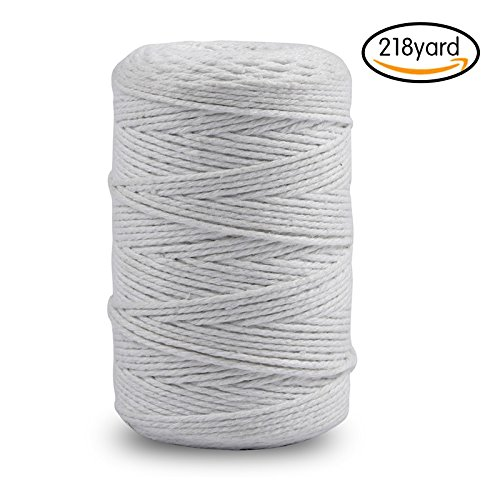 200M (218 Yard) Cotton Twine String,12-Ply Cooking Kitchen Twine String Craft String Baker Twine for Tying Homemade Meat, Making Sausage, DIY Craft and Gardening Applications (White) (White Cotton Bakers Twine)