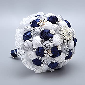 Lace Satin Brooch Wedding Bouquet For Bridal Holding Flowers Navy Blue Grey White
