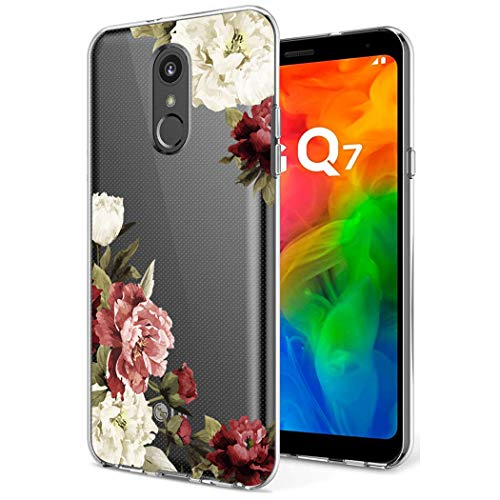 LG Q7 Case, LG Q7 Plus Case with Flowers, Sophmy Slim Shockproof Clear Floral Pattern Soft Flexible TPU Back Phone Cover for LG Q7 / Q7 Plus (Blossom Flower)