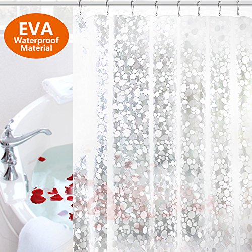 Tusscle Bathroom Shower Curtain, Shower Curtain Liner Antibacterial Anti Mildew, Shower Curtain EVA with Rust Proof Gromments & 12 Decorative Shower Curtain Hooks (Clear)
