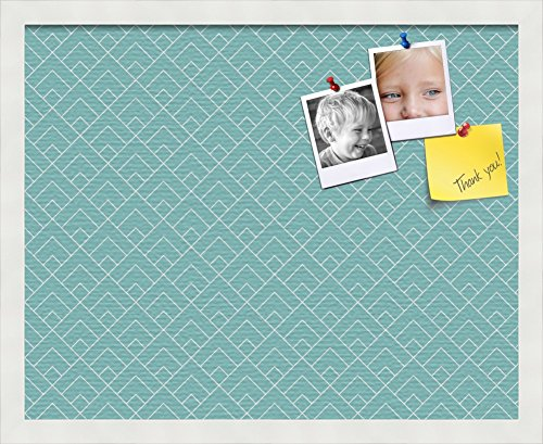(PinPix pin Cork Bulletin Board Made from Canvas, Peaks Modern Pattern Aqua 20x16 Inches (Completed Size) and Framed in Satin White Frame (PinPix-Group-86))