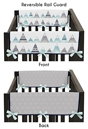(Sweet Jojo Designs 2-Piece Navy Blue, Aqua and Grey Aztec Side Crib Rail Guards Baby Teething Cover Protector Wrap for Mountains Collection by)