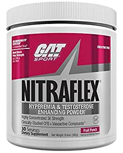 GAT Clinically Tested Nitraflex, Testosterone Enhancing Pre Workout, Fruit Punch,300 Gram