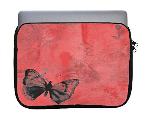 Butterfly Red Vintage 11x14 inch Neoprene Zippered Laptop Sleeve Bag by Moonlight Printing for MacBook or Any Other Laptop ()