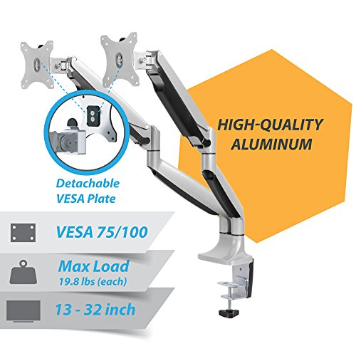 AVLT-Power Preminum Aluminum Dual Monitor Mount Gas Spring Desk Arm Stand Riser - Ergonomic Adjustable and Full Motions, Heavy Duty Holds 13