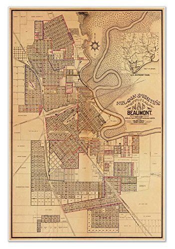 Nelson & White's official MAP of Beaumont TEXAS circa 1902 -