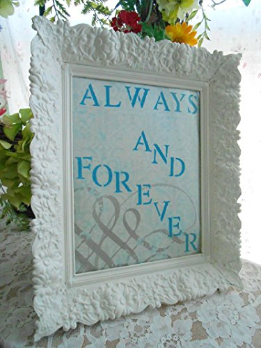 Stenciled, Always and Forever, Framed Print; Antique White, Hand Painted, Filligree Type DesignAqua, White; Glass Face, Easel Backing, Weddings, Anniversaries, - Glasses Face Type
