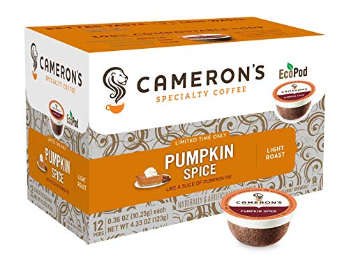 Camerons Coffee Holiday Single Serve Pods, Flavored, Pumpkin Spice, 12 Count