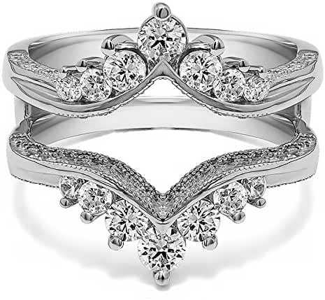 Sterling Silver Chevron Style Ring Guard with Millgrained Edges and Filigree Cut Out Design with Cubic Zirconia (0.74 ct. tw.)
