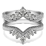 3/4 ct. Diamonds (G-H,I2-I3) Chevron Style Ring Guard with Millgrained Edges and Filigree Cut Out Design in Sterling Silver (0.74 ct. twt.)