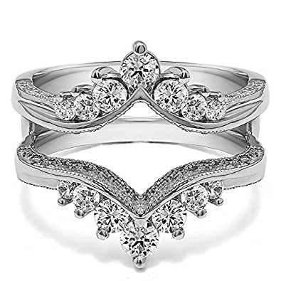 TwoBirch 0.74 Ct. Chevron Vintage Ring Guard with Millgrained Edges and Filigree Cut Out Design in Sterling Silver with Cubic Zirconia