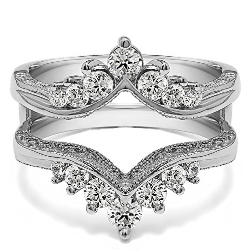 - TwoBirch 0.74 ct. Cubic Zirconia Chevron Style Ring Guard with Millgrained Edges and Filigree Cut Out Design in Sterling Silver (3/4 ct. twt.)