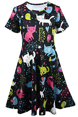 (Kayolece Little Girl's Cat Dress 3D Short Sleeve Party Animal Printed Clothes for Kid 2-9Y Size M)