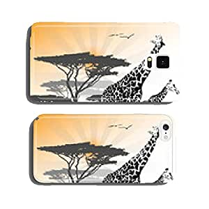 Two giraffe on savanna with tree and sun, vector illustration cell phone cover case iPhone6 Plus