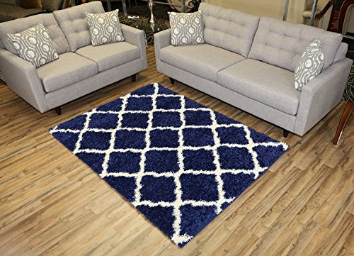 Amazon Com Navy Blue Trellis Shag Area Rug Rugs Shaggy