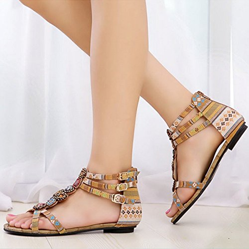 Flat Summer Beading Bohemian Beige Women Casual Sandals Shoes Fashion ZAMME xwqXpPHn0I