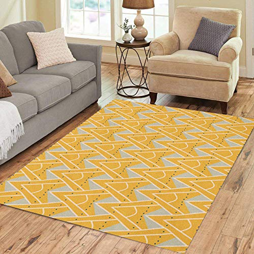 Pinbeam Area Rug 1930S Geometric Pattern in Mustard Yellow Colors Vintage Home Decor Floor Rug 2