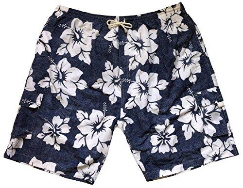 - Big Men's Hibiscus Print Swim Shorts (2X, Mixed Colors)