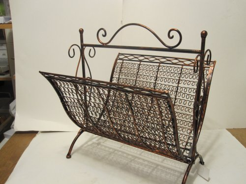 - Copper Brown Wrought Iron Foldable Magazine Rack Basket
