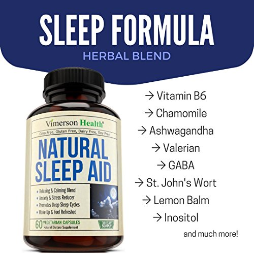 Natural Sleep Aid Pills - with Valerian, Melatonine & Natural Herbs - Premium Quality Sleeping Supplement with Chamomile, Vitamin B6, L-Tryptophan, Ashwagandha, L-Taurine, St. John's Wort, L-Theanine by Vimerson Health (Image #5)
