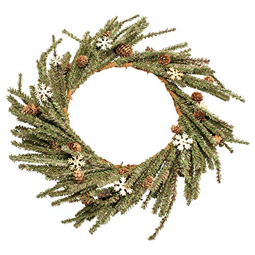 Honey and Me Medium Wooden Snowflake 18 inch Artificial Christmas Wreath