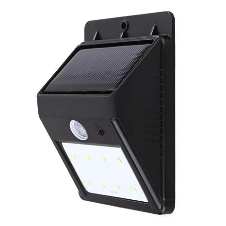 Prosperveil - Luz solar triangular con sensor de movimiento para patio y jardín (8 ledes