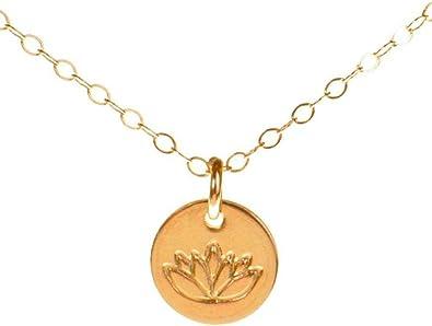 Amazon.com: Lotus Collar, Tiny Gold Filled Yoga Colgante en ...