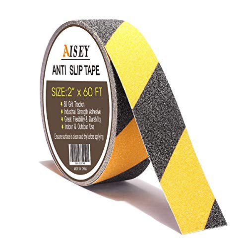 Slip Safety Tape - Non Slip Safety Grip Tape for Stairs Steps 2 Inch X 60 Foot - Indoor Outdoor Non Skid Tread High Traction Friction Friction Abrasive Adhesive Tape Yellow And Black