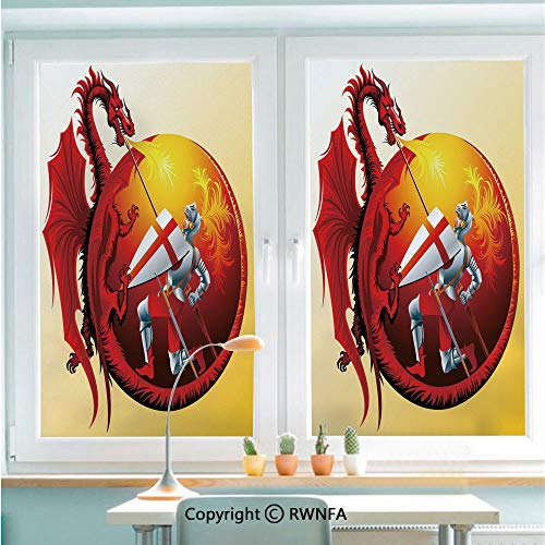 Window Film No Glue Glass Sticker Saint George with Fire Spitting Winged Creature Royal Knight Graphic Decorative Static Cling Privacy Decor for Kitchen Bathroom 22.8x35.4inches,Silver Ruby Earth YEL