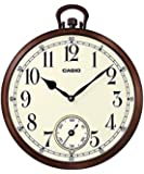 Casio Round Resin Analog Wall Clock (41.7 cm x 35.8 cm x 5.1 cm, White and Brown)